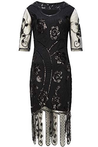 Coucoland 1920s Kleider Damen Pailletten Kleid Stola Ärmel -