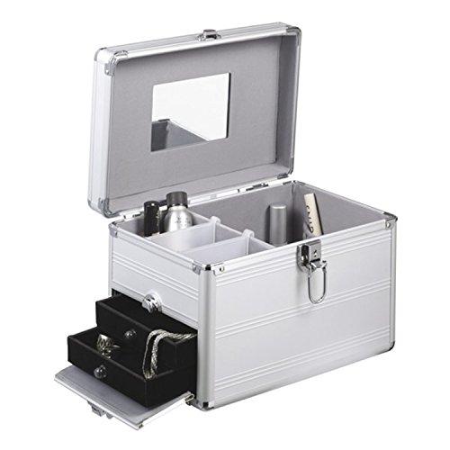 Schminkkoffer 30,5 x 21,5 x 20,5 cm Visagistenkoffer Silber Kosmetikkoffer mit Schmuckfach
