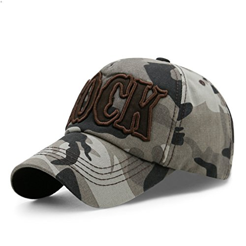 GEEAUASSD Sports Hat Outdoor Run Camo Baseball cap Visor Sun Caps (ROCK, Coffee&Gray) (Baseball-rock)