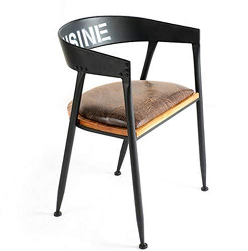 JpOTSUT American Retro Uförmigen Stuhl Eisen Holz Tee Shop Karte Sitz Bar Sitz Business Armlehne Rückenlehne Lounge Stuhl Cafe Freizeit Esstisch Und Stühle -