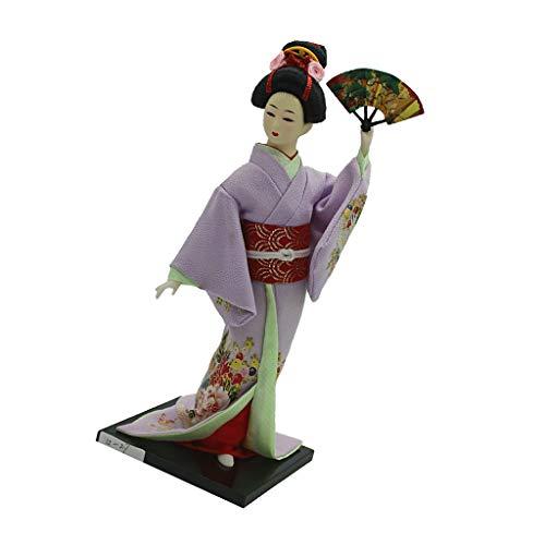 Baoblaze 1/6 Minipuppe Japanische Kimono Geisha Puppe Figur im Kleidung Wohnkultur - # ()