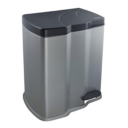 keeeper Treteimer mit 2 Abfallbehältern, 7 l + 15 l, Gunnar, Silber (Silber Mülleimer)