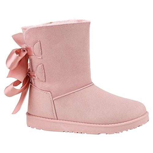 Warm Gefütterte Damen Schuhe Stiefel Schlupfstiefel Boots Stiefeletten 152578 Rosa Agueda 39 Flandell