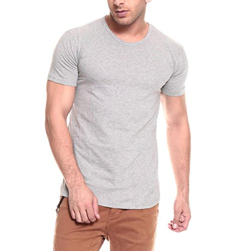 IZINC Izinic Men's Crew Neck Half Sleeve Cotton T-Shirt [Grey_X-Large]