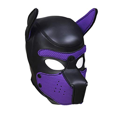 ZGZXD Leder Bondage Maske Kopfhaube Zurückhaltung Fetisch Erotik Sexspielzeug Cosplay Kostüm für Erwachsene, Halloween Devil Head Headgear (Schwarz),Purple (Zurückhaltung Halloween Maske)