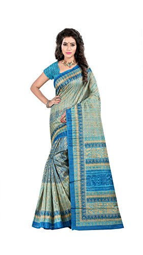 The Fashion Outlets Women's Bhagalpuri Silk designer Printed Saree(Sky Blue)  available at amazon for Rs.399