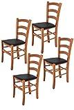 Tommychairs 4er Set Stühle Venice, robuste Struktur aus lackiertem Buchenholz im Farbton Kirschbaum und Sitzfläche mit Kunstleder in der Farbe Schwarz bezogen. Set bestehend aus 4 Stühlen Venice