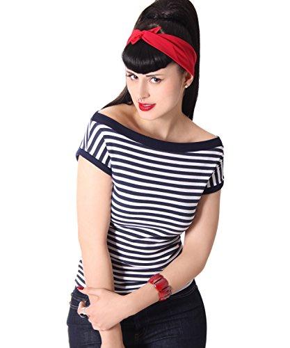 SugarShock Tara 50s retro Pin Up Streifen Rockabilly Shirt, Größe:M, Farbe:navyblau weiss (Rockabilly-retro-shirt)