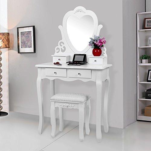 Songmics herzförmigen Spiegel Schminktisch mit Hocker und 4 Schubladen, inkl. 2 Stück Unterteiler, Kippsicherung, weiß 75 x 138 x 40 cm (B x H x T) RDT14W - 2