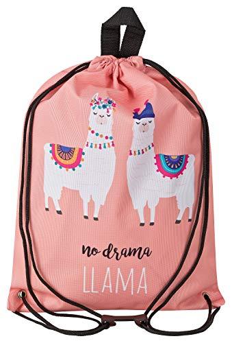 Aminata Kids - Kinder-Turnbeutel für Mädchen und Damen mit Kaktus Deko Alpaka Einhorn Tier-e Unicorn Lama Sport-Tasche-n Gym-Bag Sport-Beutel-Tasche Weiss apricot Sprüche…