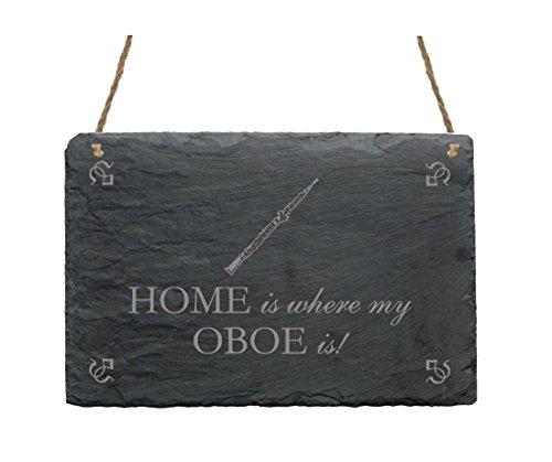 Schiefertafel « HOME IS WHERE MY OBOE IS » Schild mit Motiv - Größe ca. 22 x 16 cm - Dekoschild Dekoration - Musik Instrument