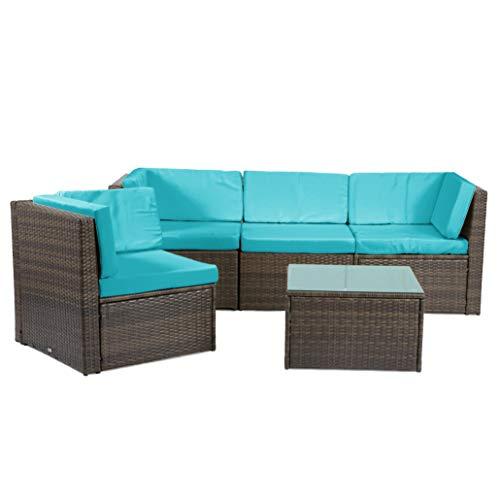 Rattan4Life Madeira Rattan braun/türkis Polyrattan Gartenmoebel Sitzgruppe Lounge Moebel Set Tisch Gartentisch Sessel Sofa Stuhl Kissen Balkon Garten