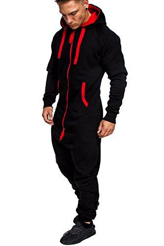 Amaci&Sons Herren Overall Jumpsuit Jogging Onesie Trainingsanzug Camouflage 3004 Schwarz/Rot XXL