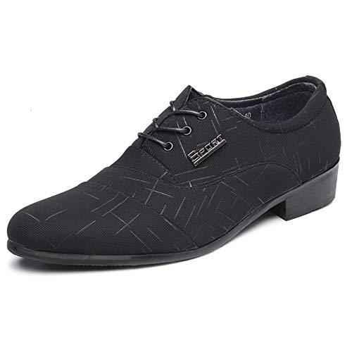 QianHaoQJu Für männer schnüren Stil Tuch Material Oxford Schuhe Herren Formale Schuhe atmungsaktiv Freizeit Business Low top einfarbig (Color : Schwarz, Größe : 43 EU) -