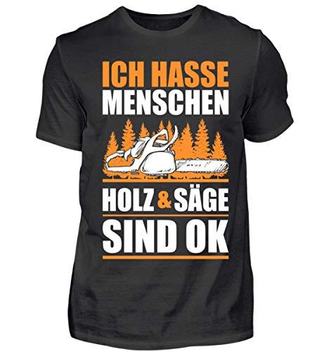 Holz/Kettensäge/König/Baum/Wald/Förster/Holzfäller - Herren Shirt -XXL-Schwarz