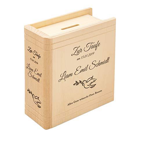 Casa Vivente Spardose mit Gravur zur Taufe, Motiv Friedenstaube, Personalisiert mit Name und Datum, Sparbüchse aus Holz in Buch-Optik, Taufgeschenk