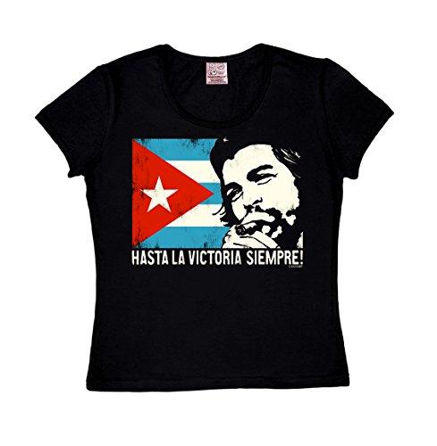 Logoshirt Damen T-Shirt R-Neck Che Guevara - Cuban Flag schwarz L