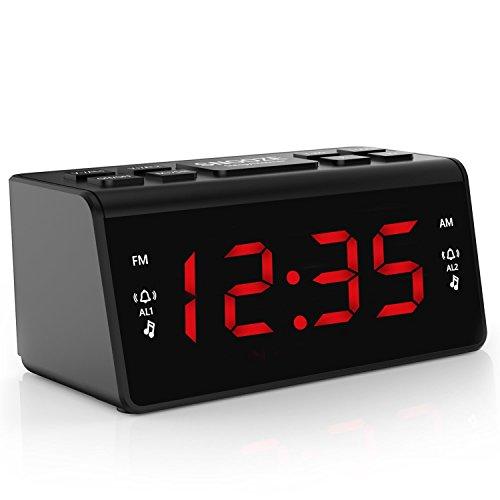Radiowecker, Digital Radiowecker, AM/FM Radio, Schlafzeitmesser, Dimmer Einstellbarer Helligkeit, Schlummerfunktion (DZ-48)