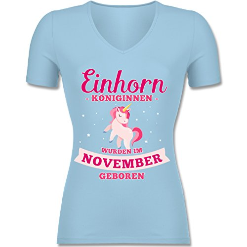 Shirtracer Geburtstag - Einhorn Königinnen Wurden IM November Geboren - Tailliertes T-Shirt mit V-Ausschnitt für Frauen Hellblau