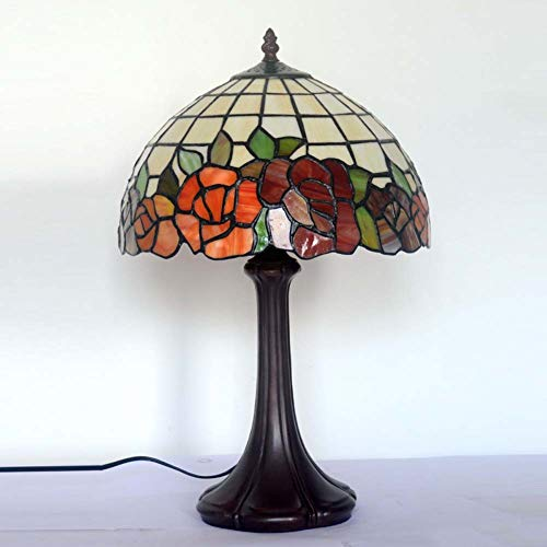 Tiffany-stil-rote Rose (Rote Rose Nachtlicht, Tiffany-Stil Tischlampe, für Pastoral Restaurant Bar Arbeitszimmer Dekoration Schreibtischlampe 12 Zoll E27)