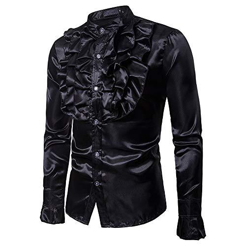 Susulv-MCL Männer Shirt Mens Floral Shiny Kostüm Slim Fit Stehkragen Langarm Button Down Shirt für Disco Party Bankett Bühnen Performance Masquerad Freizeithemden (Farbe : Schwarz, Größe : XXL) -