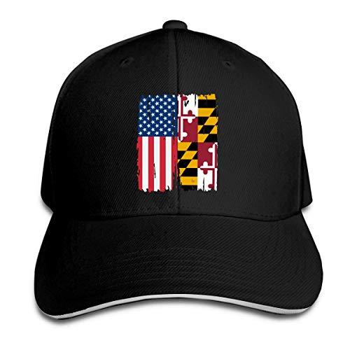 Gorra de béisbol Unisex Sombrero de algodón con Bandera Estadounidense de Maryland Sombrero Plano Ajustable Gorras clásicas para Deportes y Aire Libre Negro DIY 17868