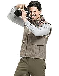Lanbaosi Gilet de Pêche Photographie en Maille Respirant Multi-poches Veste Léger Coton Sans Manches pour Camping Chasse Voyage Aventure