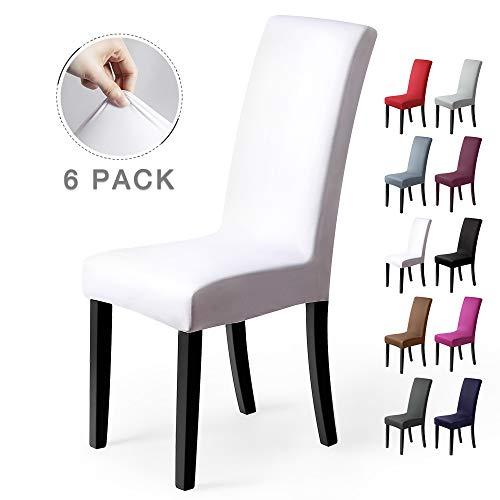 Coprisedie con schienale 6 pezzi elasticizzato copertura della sedia bi-elastico per una misura universale, coppia spandex coprisedia molto facile da pulire e di lunga durata (confezione da 6,bianca)