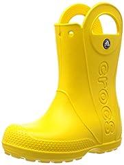 Idea Regalo - Crocs Handle It Rain Boot K, Stivali di Gomma Unisex - Bambini, Giallo (Yellow), 27/28 EU