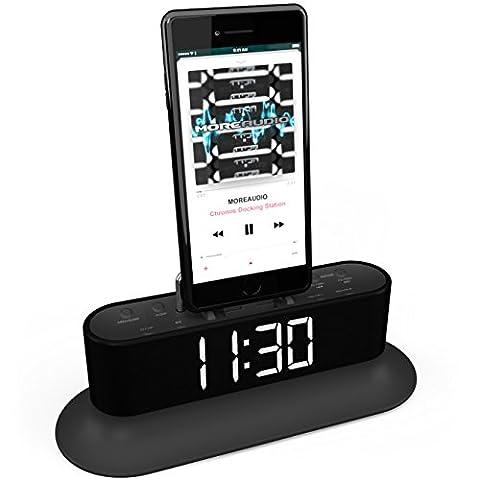 MoreAudio Chronos Lightning Dock Speaker for iPhone 5 5S 5C 6 6+ 6S Plus, 7 & 7 Plus iPod Touch Nano - FM Radio Dual Alarm Clock - More Audio Acoustics - Docking station BLACK