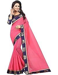 Vastrang Women's Chanderi Cotton Saree With Blouse Piece(1311HATPNK_Pink_Free Size)