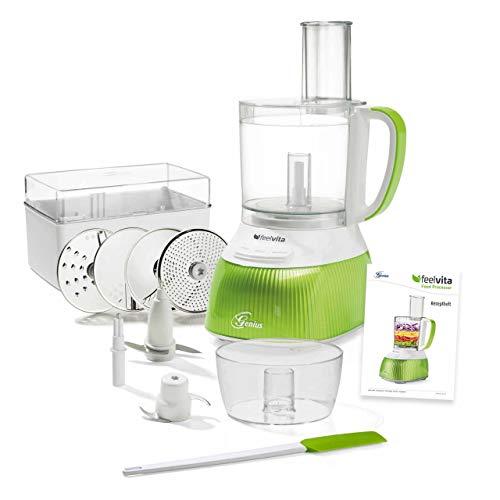 Genius Feelvita | Food Processor | 15 Teile | Elektrischer Zerkleinerer für die Küche | Food Processor zum Reiben, Raspeln, Schneiden von Gemüse
