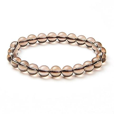 Sunnyclue Naturel véritable Quartz fumé pierres de cristal Bracelet stretch Perles rondes 8 mm environ 17,8 cm Unisexe
