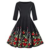 Soupliebe Mode Damen Plus Größe 3/4 Ärmel Vintage Kleid Floral Print Retro Swing Dress Abendkleider Cocktailkleid Partykleider Blusenkleid