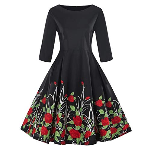Luckycat Damen Plus Größe 3/4 Ärmel Vintage Kleid Floral Print Retro Swing Dress Abendkleider Cocktailkleid Partykleider Blusenkleid Mode ()