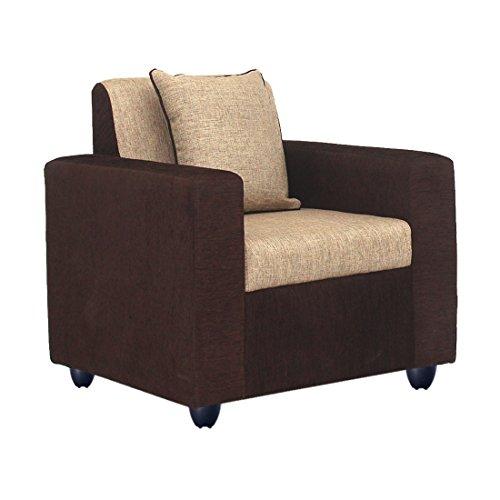 Bharat Lifestyle Tulip Fabric 1 Seater Sofa (Brown)