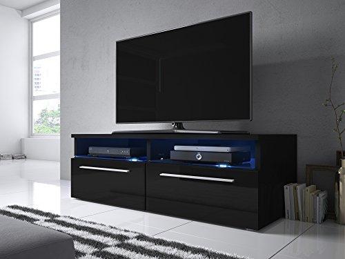Siena - Meuble TV (100 cm, Noir mat / Fronts Noir Brillant avec LED Bleue)