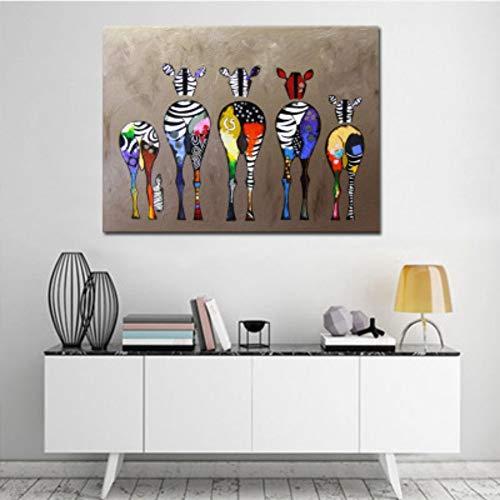 WEISY Personalisierte Leinwandbilder Bunte Cartoon Pferd Gesäß ohne Rahmen Wandkunst für Wohnzimmer Schlafzimmer Dekorationen -