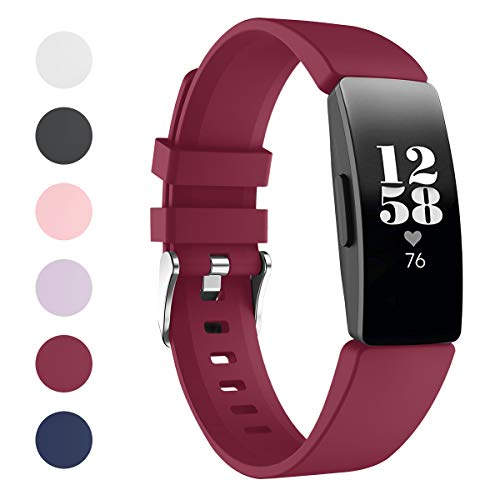 VANCHAN Kompatible mit Fitbit Inspire/Fitbit Inspire HR Armband, Silikon Ersatzband Zubehör für Fitbit Inspire/Inspire HR Fitness Tracker(Sangria)