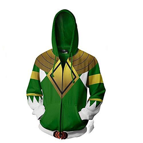 Kostüm Erwachsene Ranger Power Black Für - Zhangjianwangluokeji Power3DgedruckteRangersTeamkampfUniformanzugJackemitReißverschlussPulloverHoodiesfürErwachsene (XXL,Color 4)