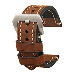omyzam Herren Uhrenarmband 22mm,Leder Uhrenband,Ersatz-Watch Armband mit Dornschließe aus Edelstahl,Männer und Frauen Uhren Zubehör Geeignet für Eine Vielzahl Traditioneller Sportuhren Braun