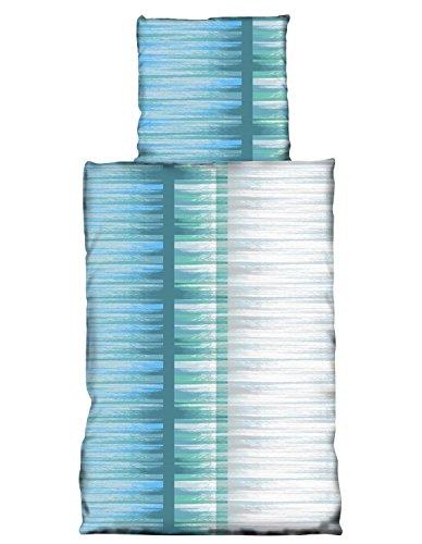 one-home 4 tlg Bettwäsche 135x200cm Türkis Blau Streifen Microfaser Garnituren (Laken-bettwäsche-set)