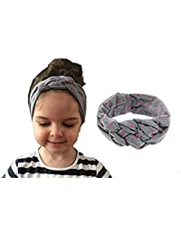 Ziory Elastic Cotton Grey Printing Knot Hair Band For Baby Girls And Toddler Girls - 1 Pcs