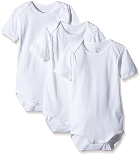 NAME IT NAME IT Baby-Jungen Body NITBODY SS M NOOS 3er Pack, Weiß (Bright White) 80