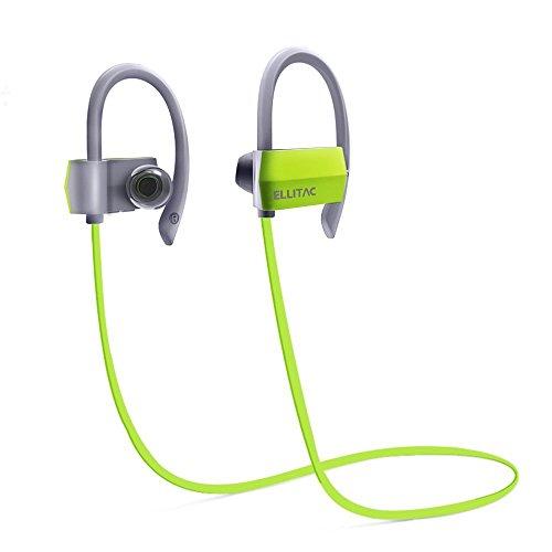 Bluetooth Kopfhörer Ellitac Kabellose drahtlos Sport Kopfhörer In Ear Kopfhörer Stereo Headset Wireless Ohrhörer beim Joggen und Trainieren Bluetooth 4,1 Lange Betriebszeit, IPX4 Wasserdicht , sichere Ohrbügel, für iPhone Samsung Huawei Series Grün-Grau