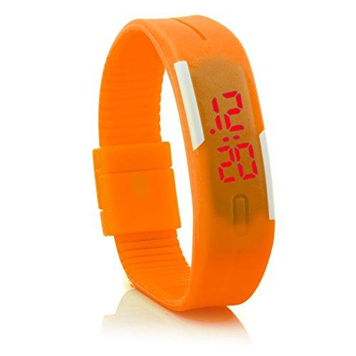 C.D.R. Herren Damen Kinder Silikon LED Watch Uhr Armbanduhr Digital Digitaluhr Sport in 11 verschiedenen Farbe erhältlich (orange)