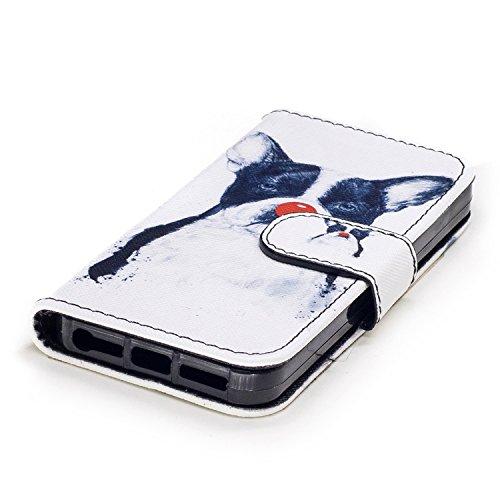 iPhone 5S Cover a Libro,BtDuck Morbido Slim Custodia Pelle Borsa e Portafoglio Tasca Progettato Creativo Divertente Funny Animale Modello Flip Cover Case Morbido Silicone Back Case Bumper con Magnetic 5/5S/SE-Clown Cane