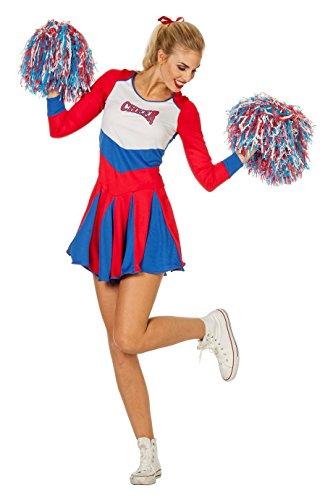 Basketball Kostüm - The Fantasy Tailors Cheerleader Kostüm Damen Blau Rot Tänzerin Football Basketball Karneval Fasching Hochwertige Verkleidung Fastnacht Größe 40 Rot/Blau