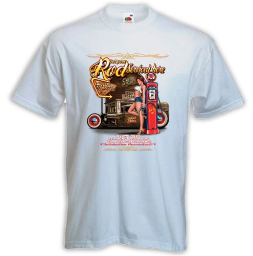 Hot Rod T-Shirt Serviced weiß Vintage Rockabilly Tattoo Pinup Weiß