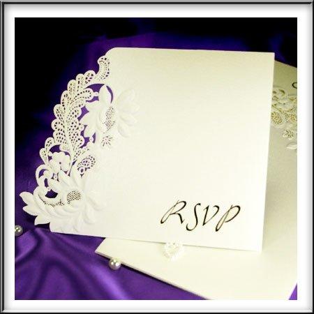 Laser Cut floreale goffrato RSVP Wedding Cards per fiammiferi nostra gamma, motivo floreale goffrato, con buste, confezione da 10